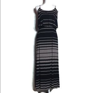 Brown &Black Striped Maxi Dress